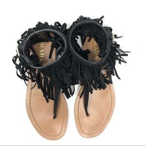 🆕 PRADA black suede fringe thong sandals